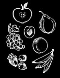 Chalkboard Vector set of Illustrations, Fruit