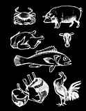 Chalkboard Vector set of Illustrations, meat and seafood