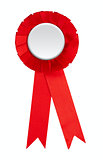 Blank red award winning ribbon rosette