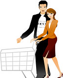 Couple holding shopping trolley