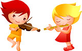 Boy and Girl playing musical instrument