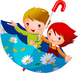 Boy and Girl in umbrella