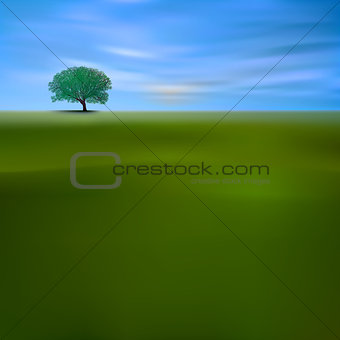 abstract background with green tree and clouds