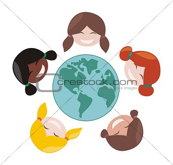 Happy, laughing multicultural girls group around the world. Vector illustration isolated on white background.