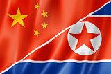 China and north korea flag