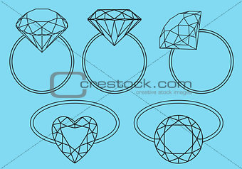 diamond rings, vector set