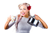 Pinup girl holding kettle and mug