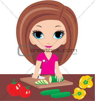 Cartoon woman on kitchen cuts vegetables
