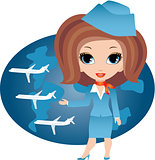 Stewardess cartoon