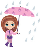 woman cartoon with umbrella