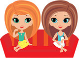 Girls cartoon talk on a sofa.