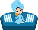 Woman cartoon in a towel on a sofa.