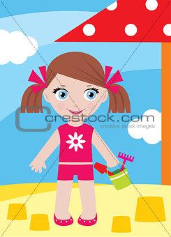 Little girl in a sandbox with a bucke