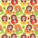 Seamless girls cartoon pattern.