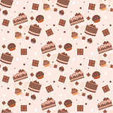 Seamless chocolate cakes pattern
