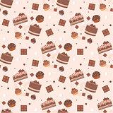 Seamless chocolate cakes pattern