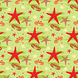 Seamless crabs and starfishes pattern