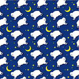 Seamless sleeping lambs pattern