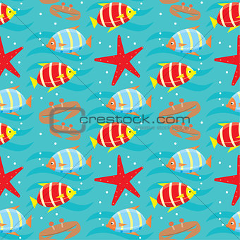 Seamless fishes pattern.