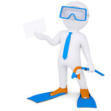 3d man with flippers holding white card