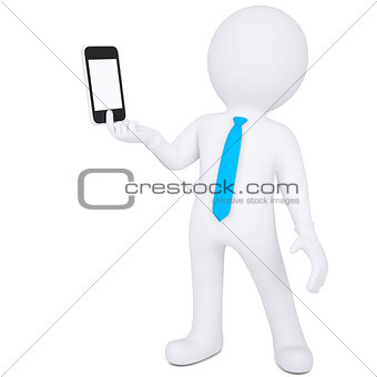 3d man holding smartphone