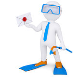 3d man with flippers holding an envelope