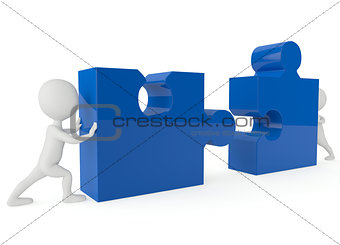 3d humanoid character push a blue puzzle pieces