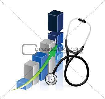 business graph with a Stethoscope