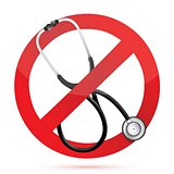 no medical help sign with a Stethoscope