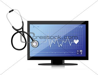 modern medical app flat screen with a Stethoscope