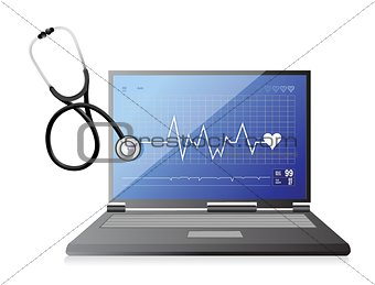 modern medical app laptop with a Stethoscope