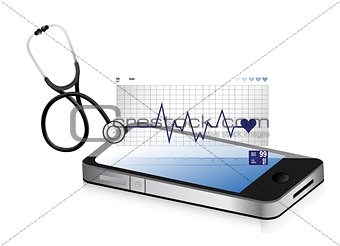 modern medical app smartphone with a Stethoscope
