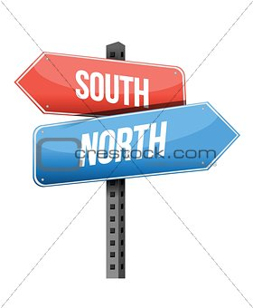 north, south road sign