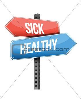 healthy, sick road sign