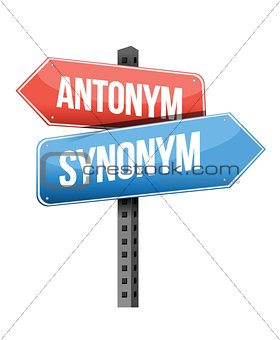 antonym, synonym road sign