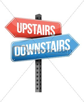 upstairs, downstairs road sign