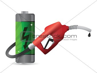 battery with a gas pump nozzle