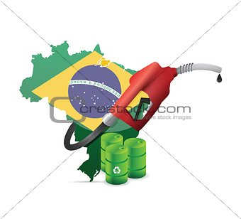 brazil alternative oil map with a gas pump nozzle