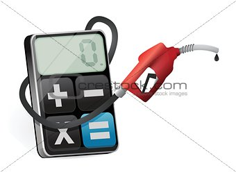 calculating prices with a gas pump nozzle