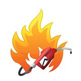 fire with a gas pump nozzle