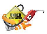 under construction sign with a gas pump nozzle