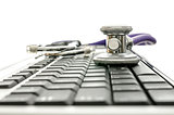 Computer keyboard with stethoscope