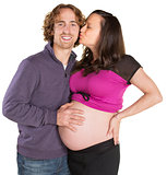 Expecting Woman Kisses Man