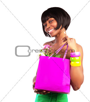 American girl holding shopping bag
