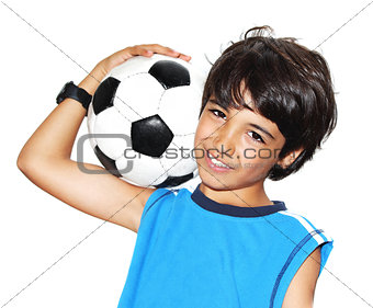 Cute boy playing football