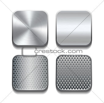Apps metal icon set.