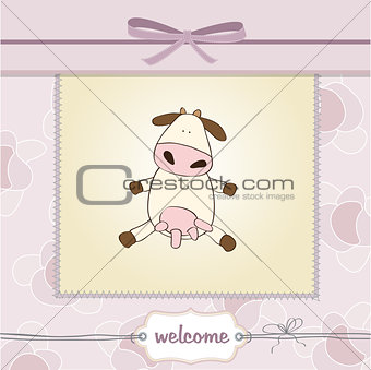 new baby girl announcement card with cow