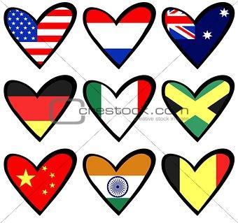 flag hearts