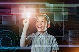 boy touch virtual button in web inteface