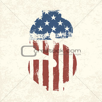 Grunge american flag themed dollar sign.